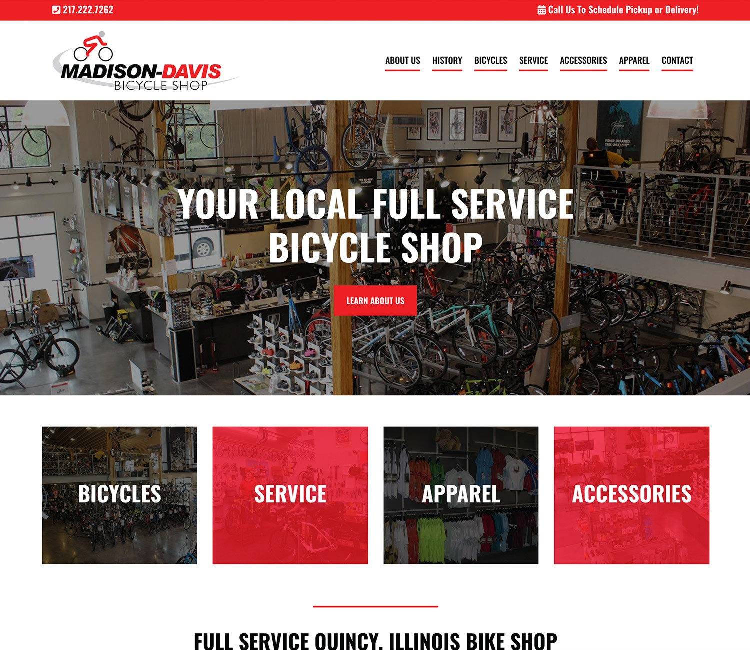 Madison Davis Bike Shop Website